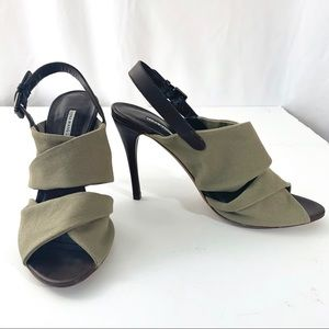 VERA WANG Lavender Leather & Canvas Heels